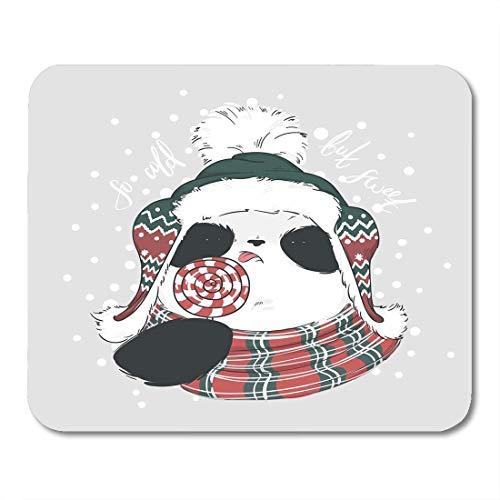 Stabiler Maus Mat Ultradünner Mousepad,Mauspads Panda In Schalmütze Und Rot-Weiße Runde Süßigkeiten Auf Stick Mit Bubo Mit Schriftzug So Kalt,Aber Süß Wintermaus Matsmouse Pad