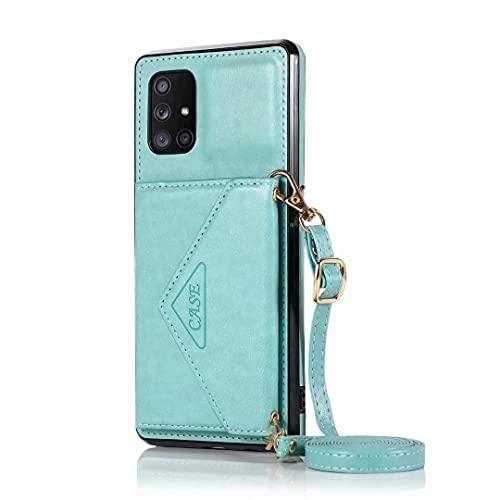 Funda para Samsung Galaxy S21 Plus - Funda tipo cartera para Samsung Galaxy S21 Plus (piel sintética, con tarjetero, a prueba de golpes), color verde