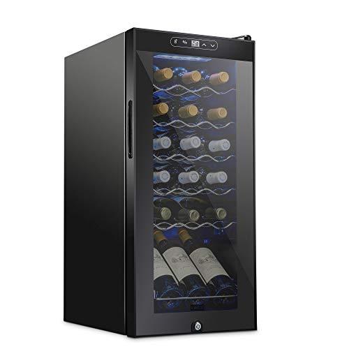 Schmecke 18 Bottle Compressor Wine Cooler Refrigerator w/Lock | Large Freestanding Wine Cellar | 41f-64f Digital Temperature Control Wine Fridge For Red, White, Champagne or Sparkling Wine - Black