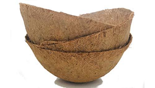 Pokugiardini. Kokoseinsätze für Blumenampeln. Runde Kokostöpfe in Schalenform als Einlage für Hängekörbe und anderen Pflanzgefäßen. 3Stk.