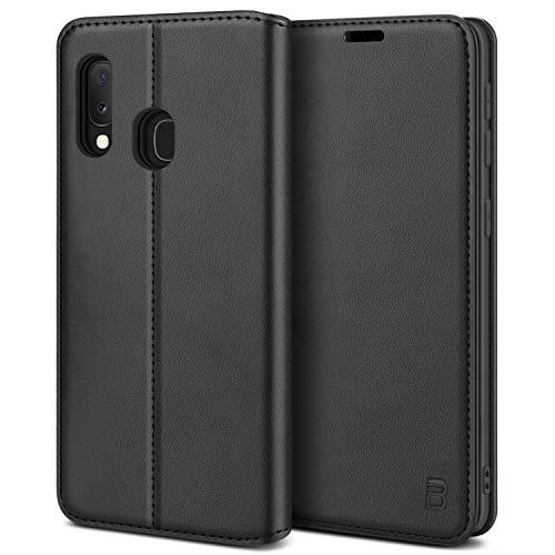 BEZ Handyhülle für Samsung Galaxy A20e Hülle, Premium Tasche Kompatibel für Samsung A20e, Tasche Hülle Schutzhüllen aus Klappetui mit Kreditkartenhaltern, Ständer, Magnetverschluss, Schwarz