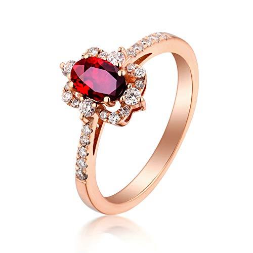 Aeici Echt Schmuck Trauring Frau Quadratischer Ovaler Rubinroter Ehering Ring Rot Rose Gold Größe 50 (15.9)