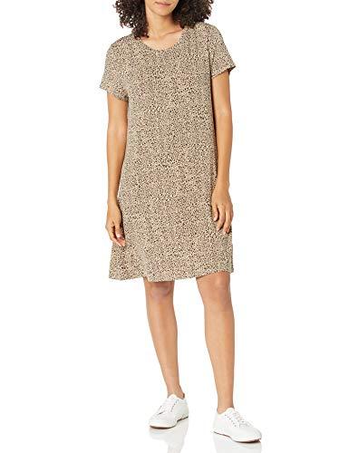 Amazon Essentials Short-Sleeve Scoopneck Swing Dress Vestido, Leopardo, S