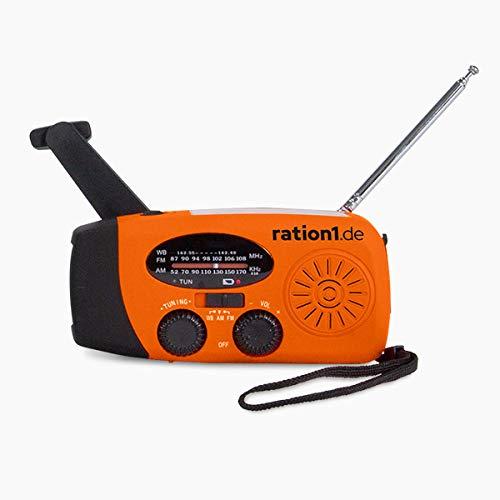 ration1 Kurbel-Radio mit LED-Taschenlampe und Solar-Zelle - leichtes, kleines Radio, das ohne Strom funktioniert