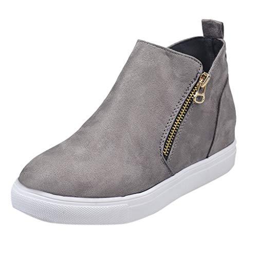 TIFIY Damen Schuhe Frauen Flache beiläufige Zipper Single Schuhe Plus Size Booties Studenten Laufschuhe Winter Warm Wild Bequem Schuhe Grau 39