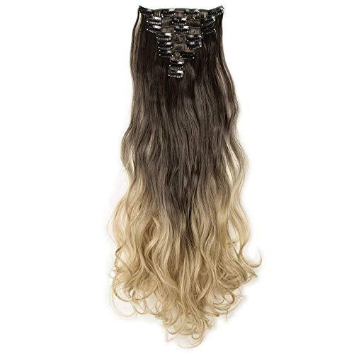 Clip in Extensions wie Echthaar Ombre günstig Haarteile 8 Tresssen 18 Clips für komplette Haarverlängerung Gewellt Haarextensions 24