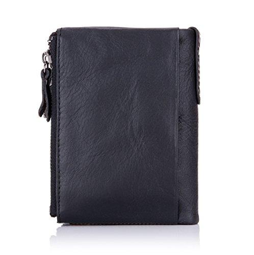 BULLCAPTAIN Genuine Leather Wallet for Men Vintage Bifold Double Zipper Coin Purse 3