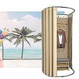 YAYADU-Storage Basket Tragbares Ankleidezimmer, Schrank, Mobile Umkleidekabine, Bodenstehende Sichtschutztrennwand Für Büro, Außenaufnahmen (Color : Beige, Size : 85x80x200cm)