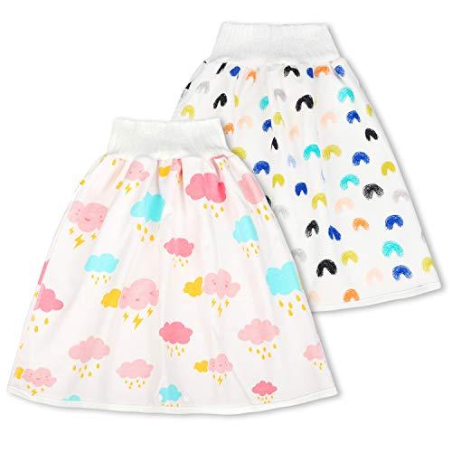 FLYISH DIRECT Baby Trainingshose High Waist Cotton Sleepy Windelhose Urinpolster Klimmzüge Lernhose Potty Underwear Windelunterwäsche 2 Stück, 1-4 Jahre, M(0-4T)