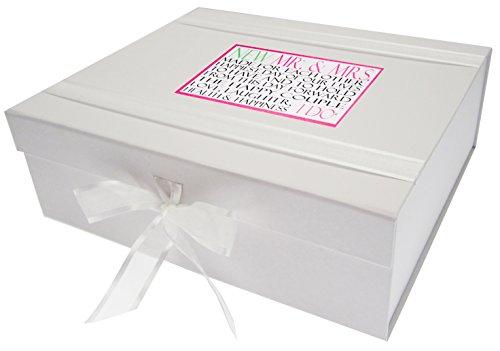 White Cotton Cards Boîte Souvenir Wedding Day Mots de Mariage, Bois, Blanc, Taille L