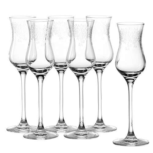 Leonardo Chateau Grappa-Gläser, 6er Set, spülmaschinenfeste Digestif-Gläser, Schnaps-Glas mit gezogenem Stiel, Kelch mit Gravur, 9 cl, 035298