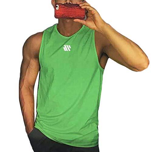 Camiseta sin Mangas de Entrenamiento para Hombre Chaleco para Correr Camiseta sin Mangas de Gimnasia Informal de Verano (Green, XL)
