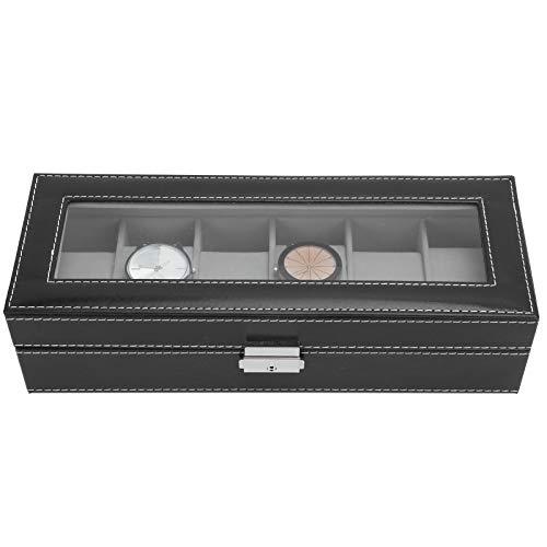 Caja de reloj de lujo 6 rejillas para joyería para decoración del hogar