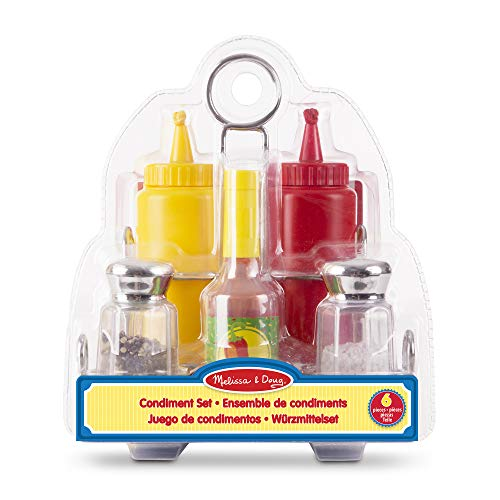 Melissa & Doug Let's Play House! Condiment Set (Pretend Play, Sturdy Metal Caddy, Realistic Sound Effects, 6 Pieces)
