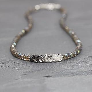Collar de cuarzo rutilado negro y labradorita en plata de ley, relleno de oro rosa o rosa. Gargantilla de piedras preciosa...