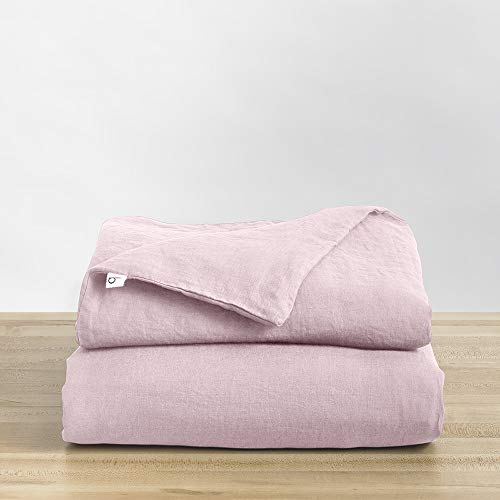 Natural Linen Duvet Cover from Baloo, Removable Cover for Weighted Blankets - Soft, Premium, Breathable French Linen, 42x72 inches, Blush Pink