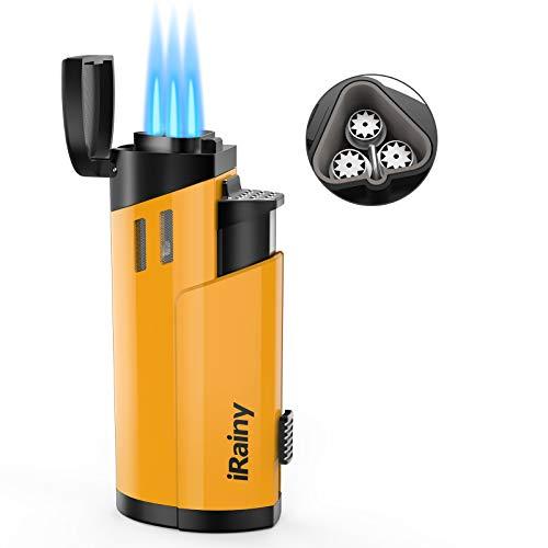 iRainy Cigar Lighter, 3 Jet Flame Lighter Yellow Windproof Lighter with Punch Cutter, Rechargeable Butane Gas Lighters…