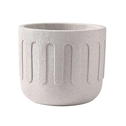 Doniczki Beżowy frostowany cement okrągłe doniczki, betonowe doniczki z otworami drenażowymi odpowiednie do salonu sypialni balkon i ogród Doniczki na rośliny (Size : L)