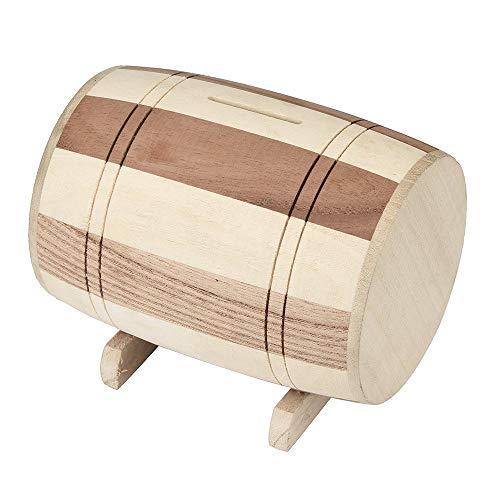 Fliyeong Hölzerne Sparschwein Safe Spardose Einsparungen Weinfass Holzschnitzerei handgemachte hohe Qualität