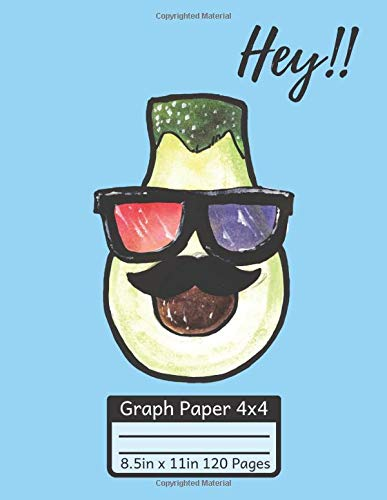 Hey!!: Graph Paper Composition Notebook/Grid Paper /Quad Ruled/Quadrille Paper Cute Avocado With 3D Glasses (8.5x11)