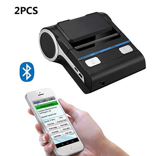 ZUKN Mini Portable Imprimante Thermique avec Interface USB Bluetooth 80MM Réception Facture Imprimante Compatible avec Android iOS Windows Convient pour Ordinateur De Petite Entreprise 2 Pièces