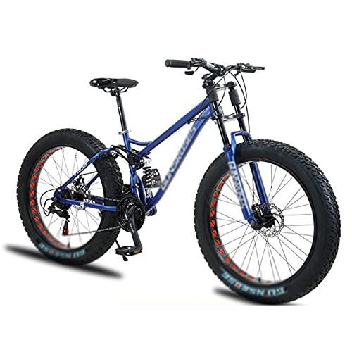 WANYE Fat Tire Fahrrad Für Herren, 26 Zoll 7 Gang Mountainbike, 4 Zoll Breitreifen Beach Snow Mountain Fahrrad, Federgabel Dual Scheibenbremsen MTB Mit 3 Speichen Laufrad Blue-Spoke Wheel