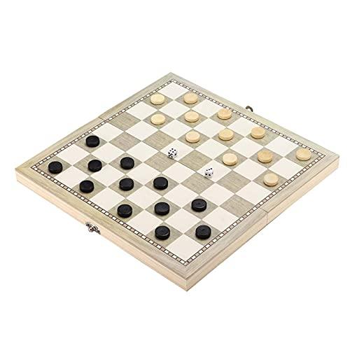 ZCYXQR Juego de ajedrez 3 en 1 Juego de Tablero de ajedrez de Madera Plegable Juegos de Viaje Ajedrez Backgammon Damas Piezas de ajedrez de Juguete para Entretenimiento G (Práctica de Juego Mental)