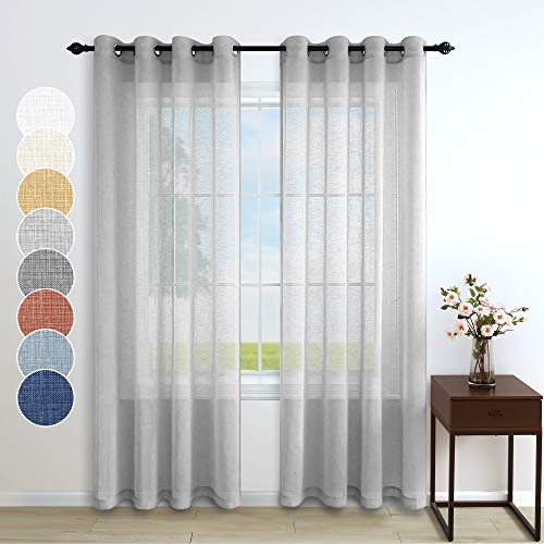 Grey Curtains 84 Inches Long for Bedroom 2 Panels Pair Grommet Translucent Faux Linen Drapes Light Filtering Opaque Silver Gray Sheer Curtain for Living Room Dining Boys Bay Window 52x84 Inch Length