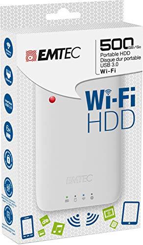 Emtec Disque dur connecté Wi-Fi USB3.0 (3.1) HDD 2.5 pouces P600 500GB Ideal ppur streamer sur SmartPhone et Tablette Hot Spot