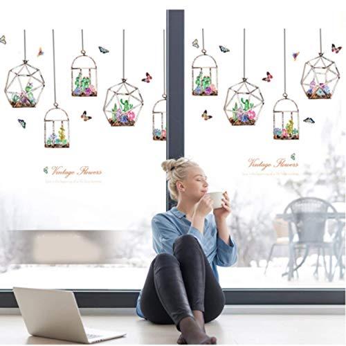 Coloridas flores de cactus que cuelgan en botellas de vidrio pegatinas de pared mariposas pegatinas para sala de estar dormitorio arte mural calcomanías
