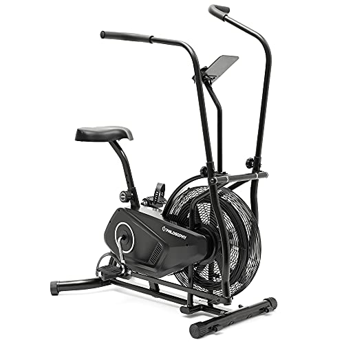 Philosophy Gym Upright Exercise Fan Bike - Indoor Cycling Bike with Air Resistance System for Cardio Training Workout