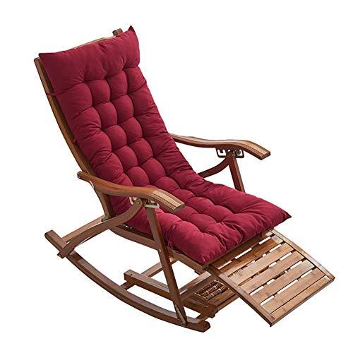 WENYAO Mecedora Plegable de bambú con cojín Rojo, sillón de Verano para Patio con balcón, sillón, Soporte de 330 LB
