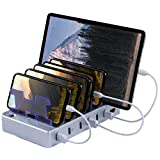 Hercules Tuff Charging Station for Multiple Devices with 6 USB Fast Ports and 6 Short Mixed USB Cables for Cell Phones and Other Electronics Silver