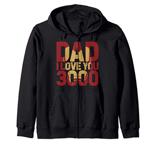 Marvel Iron Man Dad I Love You 3000 Text Fill Father's Day Sudadera con Capucha