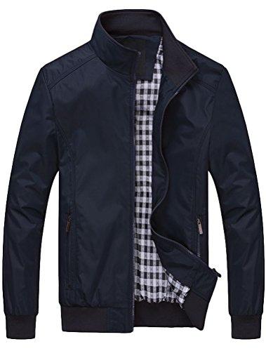 FTCayanz Herren Bomberjacke Übergangsjacke mit Stehkragen Jacke Kurz Mantel für Business Freizeit Dunkelblau M