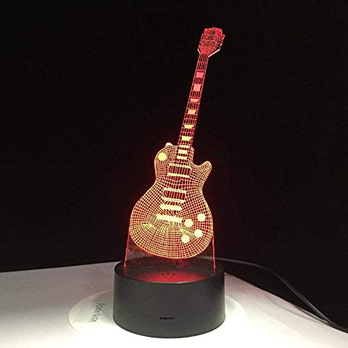 Tatapai 3D Illusion Lamp Led Night Light Electric Guitar 7 Colorful USB Table Lamp Baby Sleeping Music Sax Decoration with Remote Control Kids Gifts