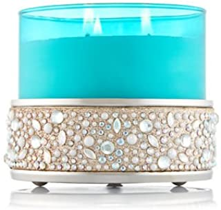 Bath and Body Works White Barn Silver 3 Wick Candle Holder Sleeve Pearls and Gems Low Profile