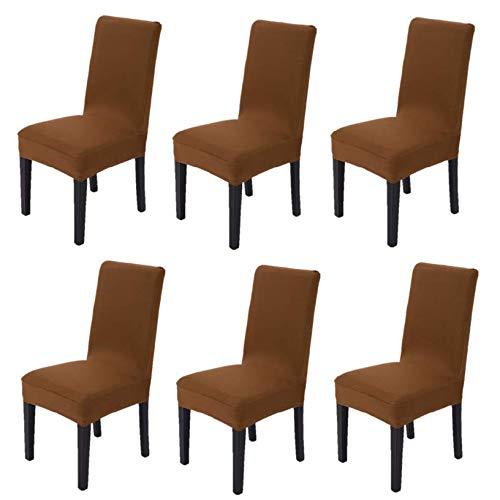 Littleprins Stuhlhussen 6er Set Stuhlbezug elastische Moderne Sitzschuz Stretch-Stuhlhussen Stuhlüberzug für Esszimmer Stuhl Hochzeit Partys Bankett Deko schwarz (braun)