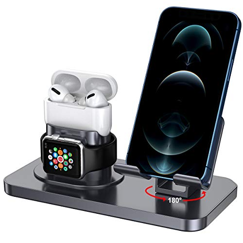 SaiMeun 3in1 Charging Stand, 180°Rotation Phone Stand Compatible with iPhone Series12/11/X/XR and Samsung Series and ipad Series,Charging Dock for Apple Watch6/5/4/3 and AirPods3/2/1/Pro (Space Gray)