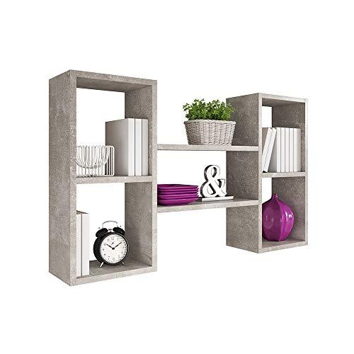 Selsey Kassi - Wandregal/Hängeregal/Bücherregal mit 5 Fächern in Betonoptik 60x102cm