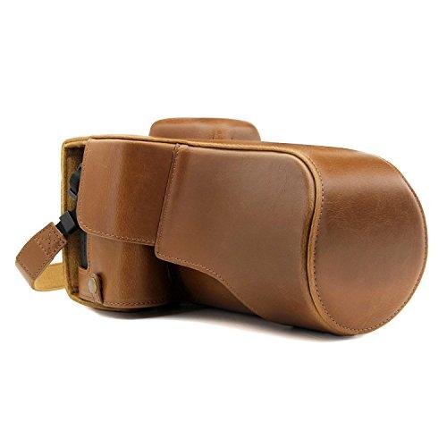MegaGear MG1228 - Funda de Piel con Correa y Acceso a la batería para cámara Canon EOS Rebel T7i/800D/Kiss X9i/77D/9000D (18-135 mm), Color marrón Claro