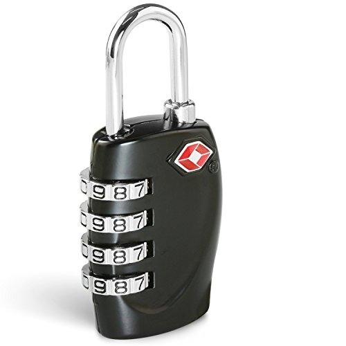 BEZ Kofferschloss TSA, Zahlenschloss Gepäckschlösser Reiseschlösser 4-stellige Zahlenkombination - Bestes TSA anerkanntes für Reisesicherheit – Schwarz