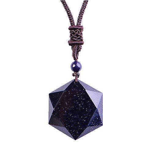 TYGJB Obsidiana Negra Seis Estrellas AWN Collar Colgante Obsidiana Joyas Estrella Obsidiana Jade Joyería Fina