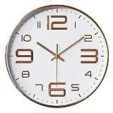 Aischens Reloj de Pared Moderno, Grandes Decorativos Silencioso Interior Reloj de Cuarzo de Cuarzo Redondo No-Ticking, Reloj de Pared Silencioso para Hogar Oficina Cocina Decorativos (Oro Rosa)