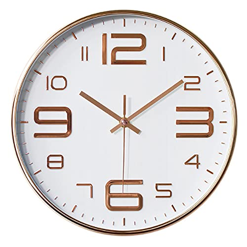 Aischens Horloge Murale Ronde Moderne silencieuse, Quartz Horloge Murale Silencieuse Adaptée au Salon Cuisine Chambre d'enfants Bureau Salle à Manger Bureau Horloge Alimentée par Batterie (d'or)
