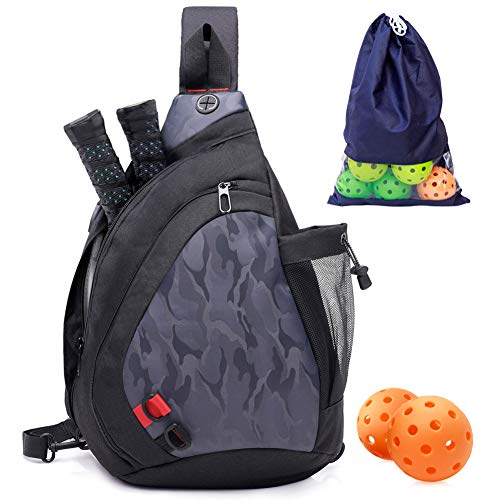 ZOEA Pickleball Bag, Sport Pickleball Sling Bag for Women Man, Adjustable Pickleball Bag with Water Bottle Holder, Fits 2 Paddles and All Your Other Gear (Grey)
