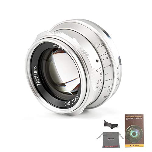 7Artians 35 mm, F1.2, objetivo de gran apertura para cámara sin espejo para M4/3, Olympus Epm1, Epm2, E-PL1, E-PL2, E-PL3, E-PL5, E-PL6, E-PL7, E-PL8, E-P1, E-P2, E-P3, E-P5, E-P6 Plata