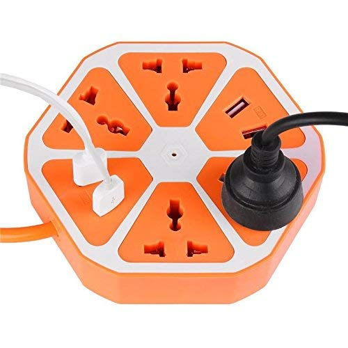 EYUVAA LABEL 10 ampere Extension Board with 4 USB/Outlet Ports with 6 ft Surge Protection 2500W Multi-Faceted Safety Sockets (Orange Blue)