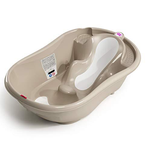 OKBABY Onda Evolution - Baignoire pour le Bain des Nouveau-nés 0-12 Mois, Assise en Gomme Antidérapante - Gris