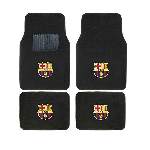 A Set of 4 Universal Fit Front and Rear Logo Plush Carpet Floor Mats - Futbol Club Barcelona FCB